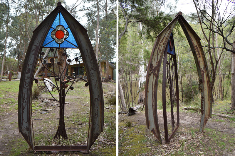 Stunning glass art outdoor with reclaimed materials by Tread Sculptures in Melbourne, Australia