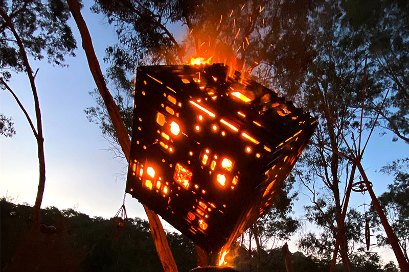Cozy upcycled firepit handmade by Tread Sculptures in Melbourne, Australia